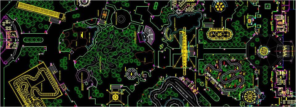 Amusement park technical drawing