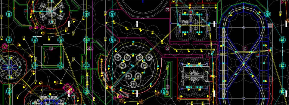 Autocad drawing of an amusement park with rides and attractions