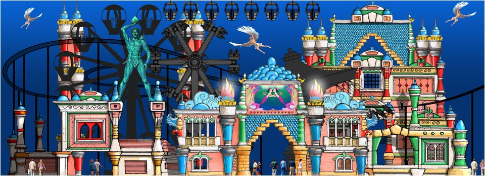 Hand draw of a theme park's theming