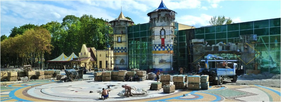 Amusement park entrance, under construction